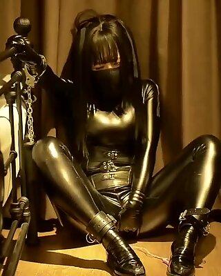 fejira com Leather girl self bondage with chain get orgasm