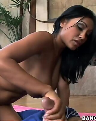 Lascivious babe Priya Rai gives awesome blowjob and rides dick on the floor