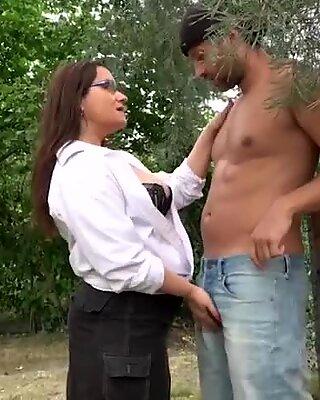 Mature Cougar Fucks Twink Outside
