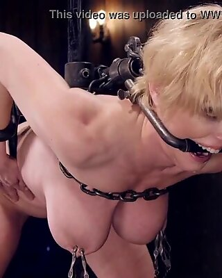 Tied up big tits Milf gets body clamped