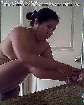 Asian in Bathroom, Fully Nude, Shaking Ass, Big Brown Nipples