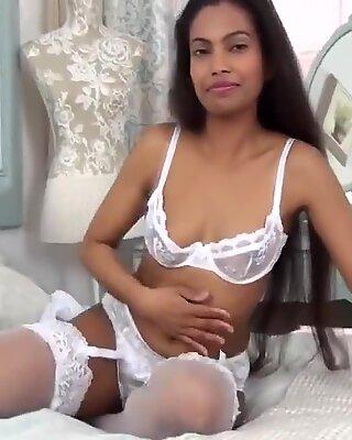 Amazing attractiveness in white-colored underwear - Black Beauty