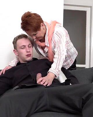 Mom and granny make deep blowjob and fuck boys