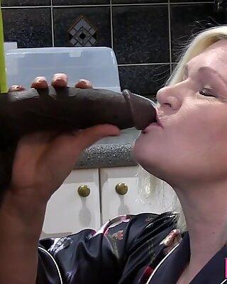 Gran sucks black shlong