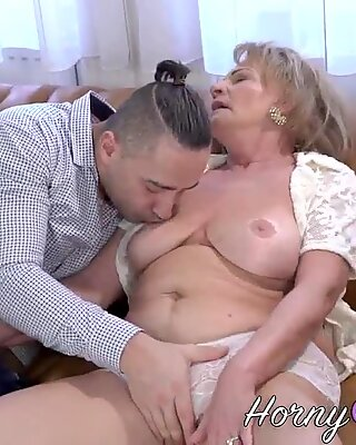 Busty pensioner railed and jizzed over
