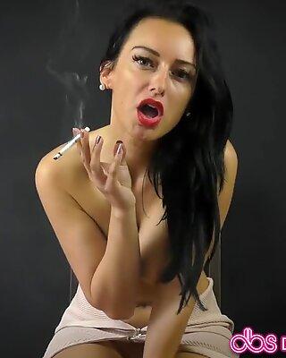 Sexy Cassie smokes