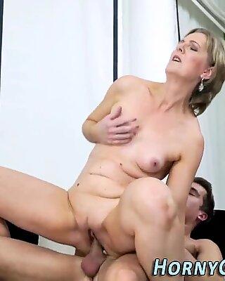 grandma takes cum-shot