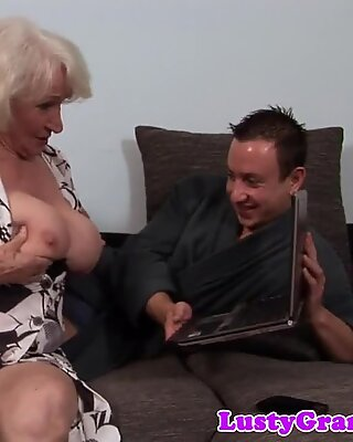 Hairy cougar banged on the couch