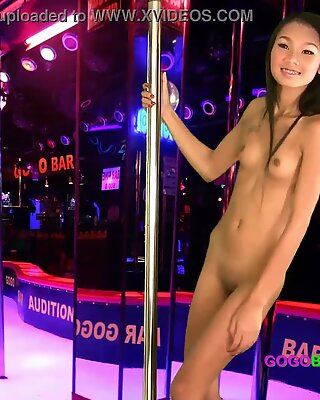 Skinny piece of Thai teen ass interviews for a job with scummy bar manager