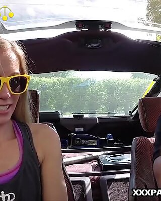 Blonde bimbo tries to sell car, sells herself - Pawnshop office POV facial