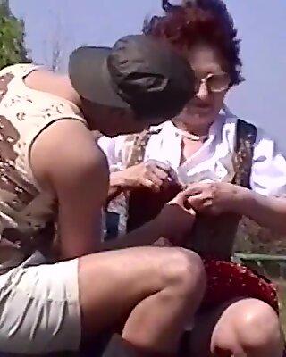 75 years senior mom outdoor plumbed