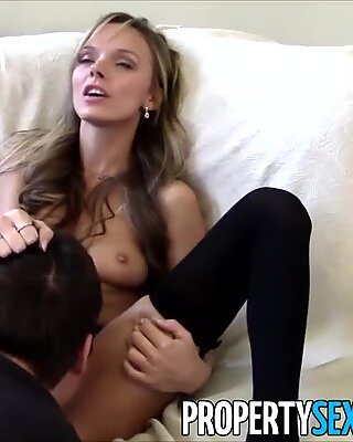 PropertySex - Stunning real estate agent with tight petite body fucks to sell house