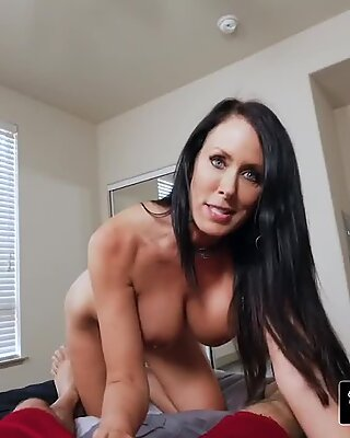 Fancy hot milf with huge boobs wants to spoil her stepson with a naughty wet and deep blow job