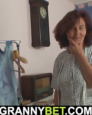 old tailoress gives head and rides customer's huge cock