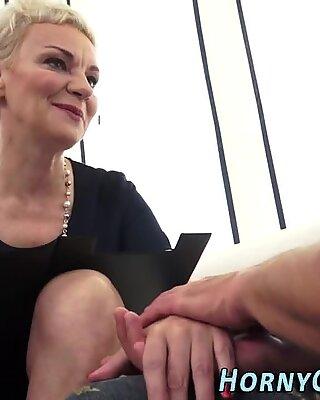 Horny grandma gets oral