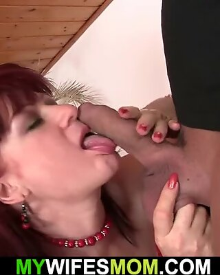Mom playing with huge dildo before riding his cock