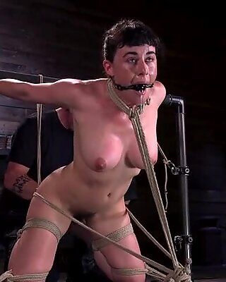 Busty hairy cunt brunette gets whipped