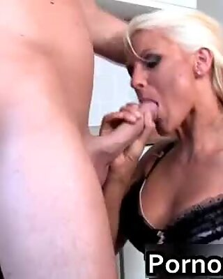 Blonde milf slut gets a big dick in her