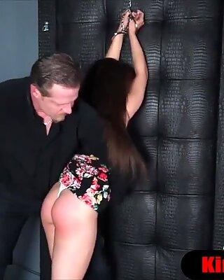 Brought my brunette wifey to a bondage fetish sex motel