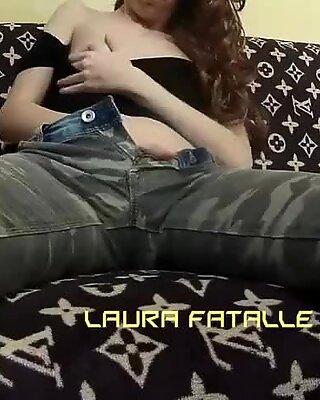 Teen hottie caught masturbating in daddys bed - Laura Fatalle
