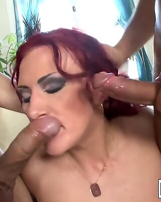 Redhead MILF gets DP'd by two hard cocks