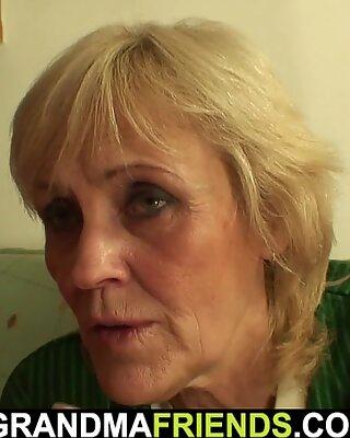 Very old blonde granny threesome fuck