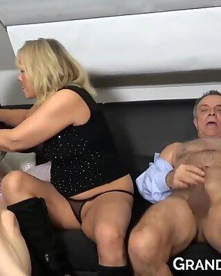Mom jerking grandpa dick