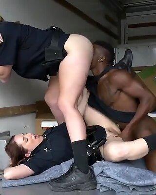 Sloppy extreme rough blowjob Black suspect taken on a tough ride