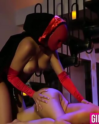 Mercedes Carrera allows Cherie to press her throbbing pussy