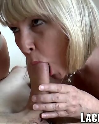 LACEYSTARR - Two busty grannies pleasing one lucky cock
