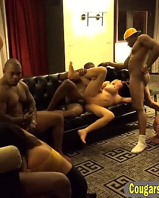 Relentless blonde cougar got her mouth fucked full by black guys