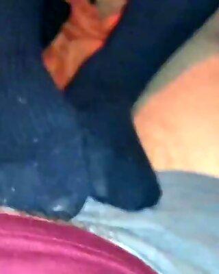 Smelly Overknee Socks Foot Job - Orgasm under her soles!