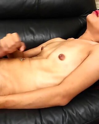 Real ladyboy wanking herself until climax