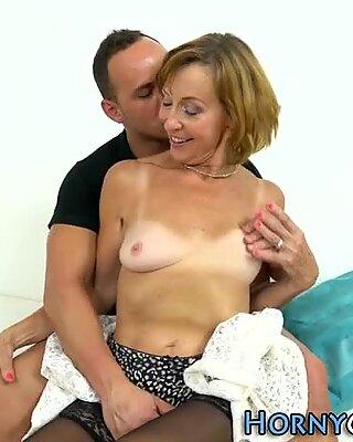Small tits granny riding