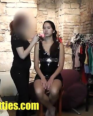 Beautiful asian teen does BJ at her first CASTING