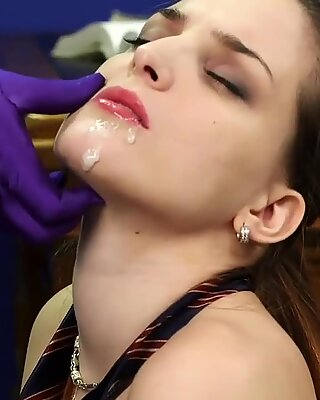 Nasty idol gets sperm shot on her face eating all the charge