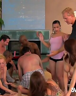 Horny swingers are having a hot massage session between them.