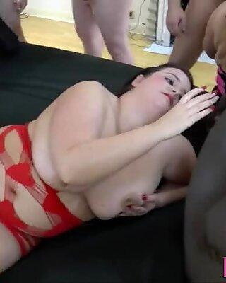 Mature slut gobbles cock