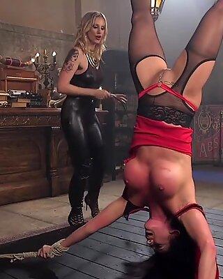Huge tits lesbian sub ass whipped lezdom