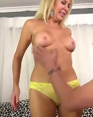 light-haired Grandmother Erica Lauren Sucks and pounds a Dopey man