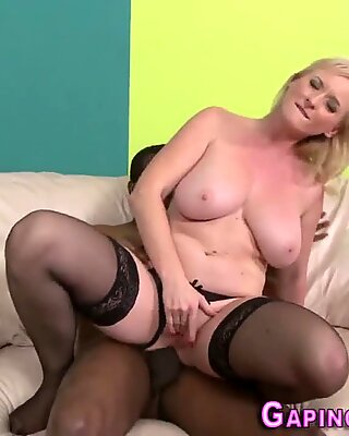 Gaping granny cum mouthed