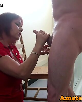 Bigtitted mature CFNM amateur pleasuring cock