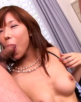 A great cock sucker Serina Hayakawa sucks two cocks and gets hammered from behind