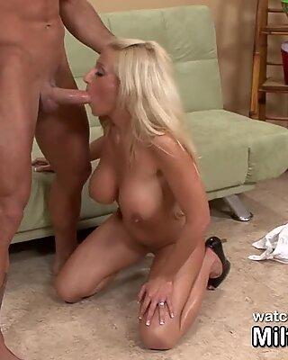 Big titted blonde MILF gets dickfaced