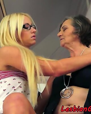 Spex stunner pleasured by granny